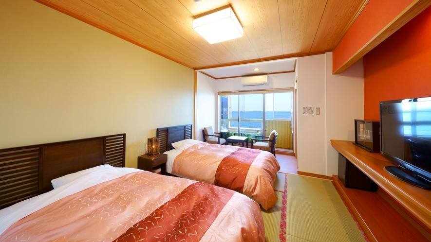 【半露天風呂付客室】海が見える和洋室・セミダブルベット(ツイン)