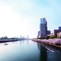 ◆春/ホテル目の前を流れる大川沿いには約4,000本もの桜がアーチを描きます。