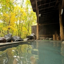 紅葉の露天岩風呂