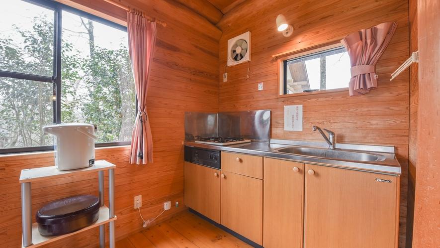*【ログハウス一例】鍋、やかん、まな板、など無料でご利用いただけます。