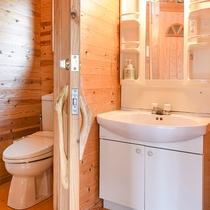 *【ログハウス一例】トイレ付。お風呂は温泉をご利用ください。