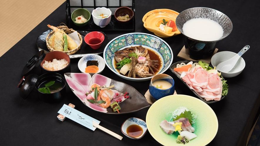 *【夕食会席一例】ボリューム満点!季節に合わせた会席をお楽しみください。