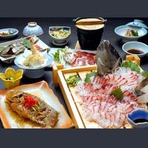 グレードアップ料理一例(摩周鯛の活き造り&姿唐揚げ)