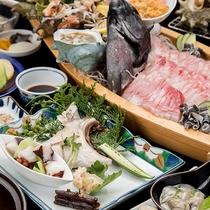 *【夕食一例】  朝水揚げされたばかりの新鮮な玄界灘産の天然魚介類をどうぞ