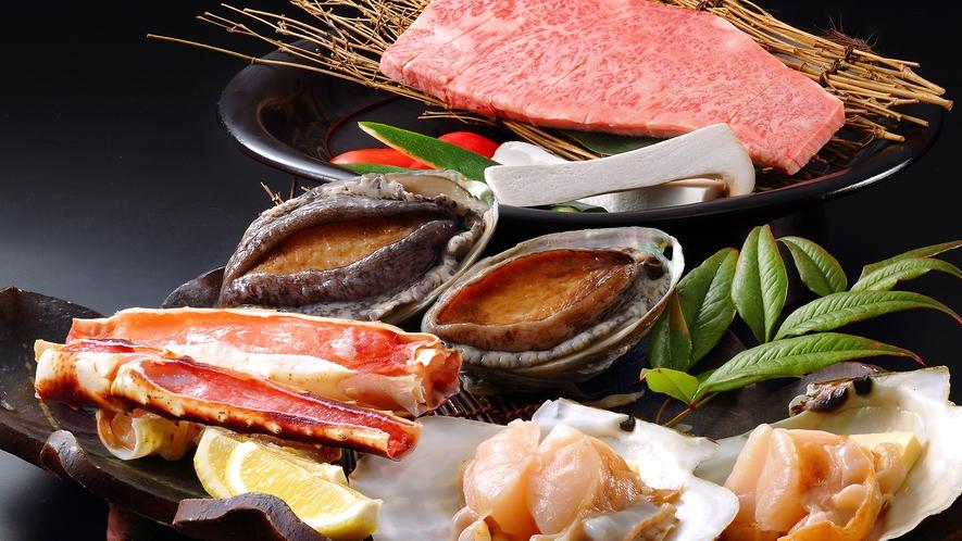味の芸術A4前沢牛&三陸産活鮑付が付いた海鮮焼きが付いた極上いろり料理!