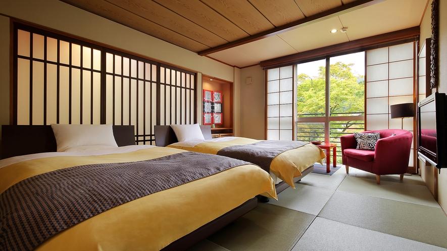 【萱】和室10畳バリモダンツインベッド(バス付)