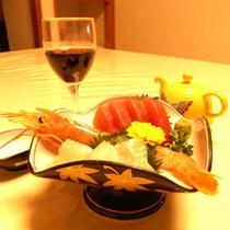 刺身とワイン