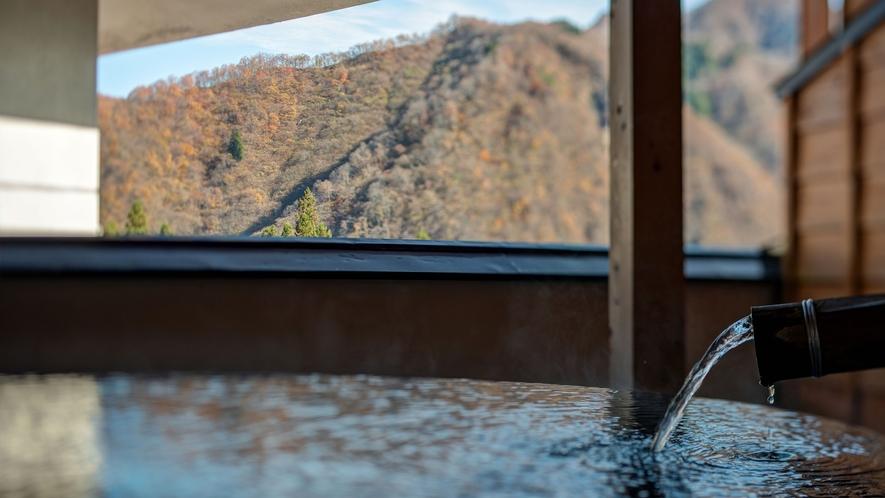 *湯峠館・露天風呂付客室「花伝」/お庭付きの露天風呂は開放感たっぷり
