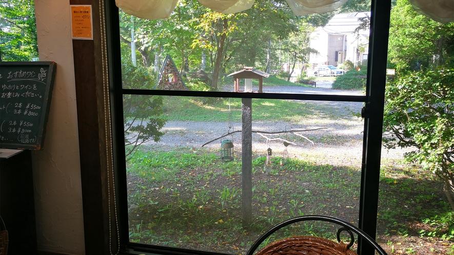 *レストラン一例/窓の外には鳥用の止まり木が見え、朝には鳥のさえずりが聞こえることも。