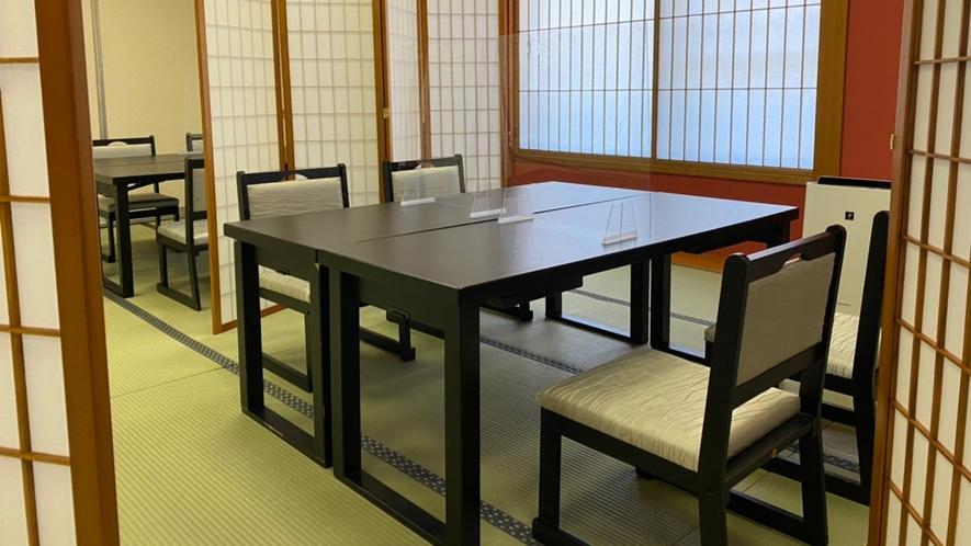 パーテーションでプライベートスペースが仕切られた 安心のお食事処「花鳥風月」
