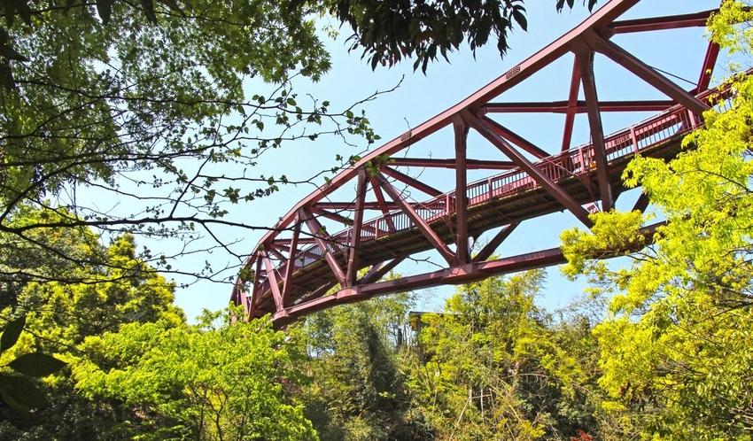 S字の曲線が珍しいあやとり橋