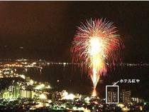 【湖上花火 イメージ】打ち上げ台も間近に見える抜群の立地