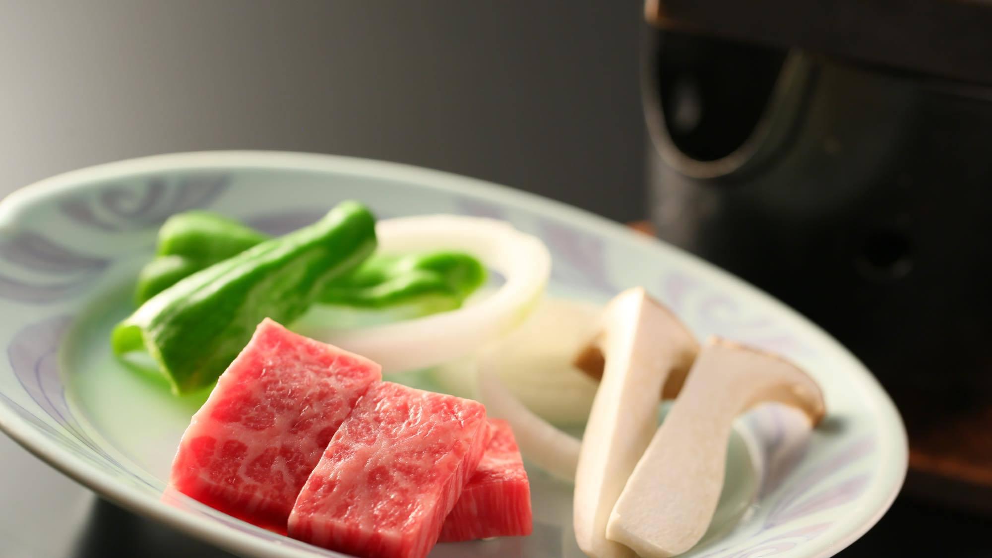 【夕食】「選べる台の物」信州牛の陶板焼き
