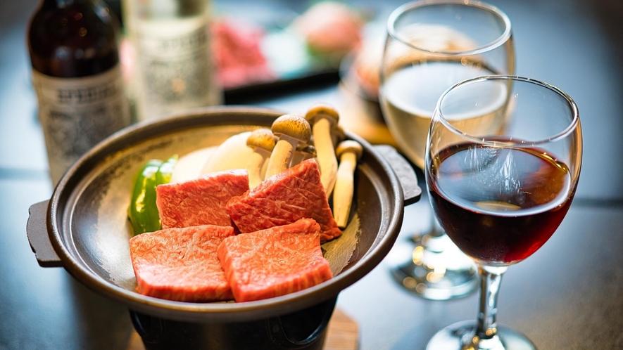 【夕食】信州プレミアム牛と信州ワインを味わう特選コース