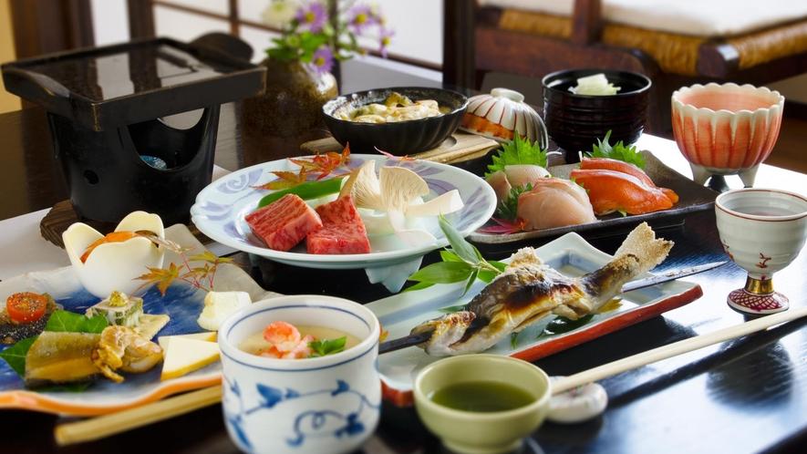 【夕食】基本善兵衛コース「選べる主菜料理」お好みでメニューが選べて大好評!〆には自家製手打ち蕎麦も