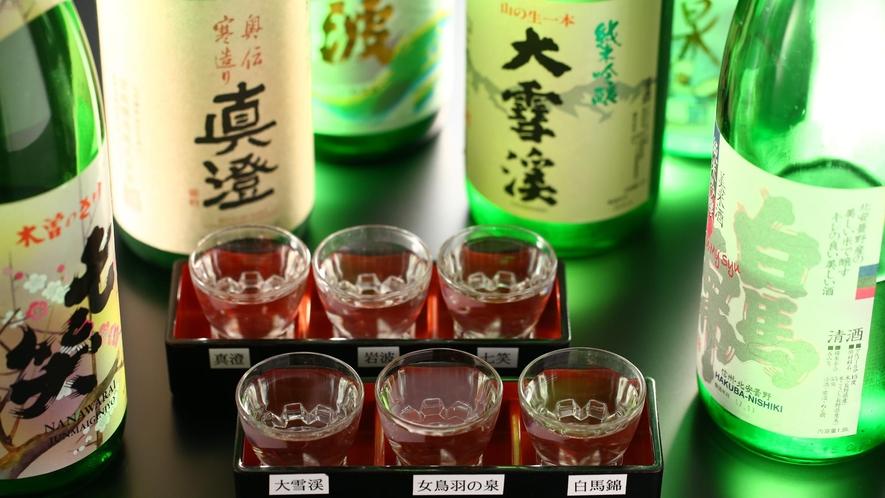 【夕食お飲み物】利き酒セット。地酒6種を飲み比べ。