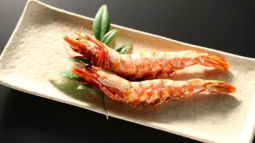 【夕食】「選べる焼き物」海老の塩焼き