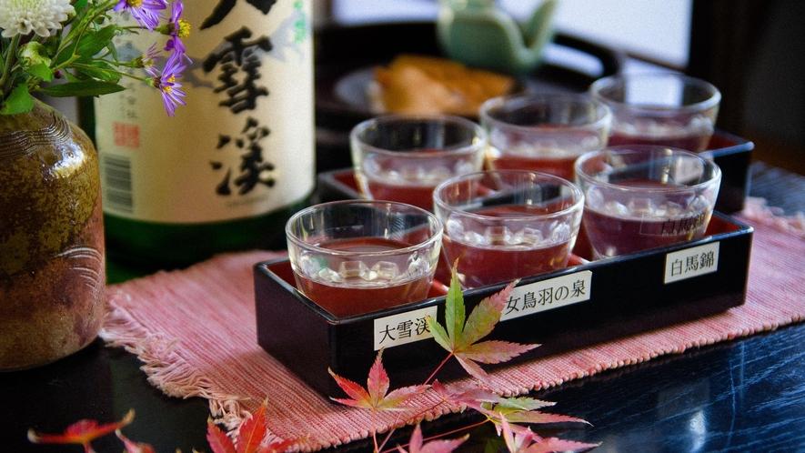 信州の地酒が6種類愉しめる「利き酒セット」ご夕食のお料理と一緒に