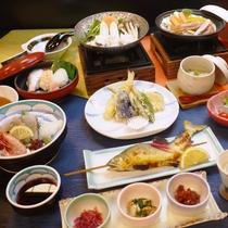 【夕食】潮彩会席:瀬戸内の山海の幸(一例)