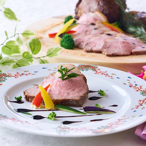 6/1〜7/21 夏の料理フェア 豚肉のポルケッタバルサミコソース〜夏野菜を添えて
