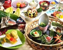 海の魚、山の魚を食べ尽くす、魚づくしの会席料理です。