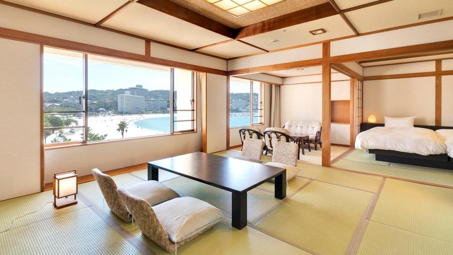【デラックス和室+ツイン】(12.5畳+8畳)和室にツインベッドを設置したお部屋(定員7名)