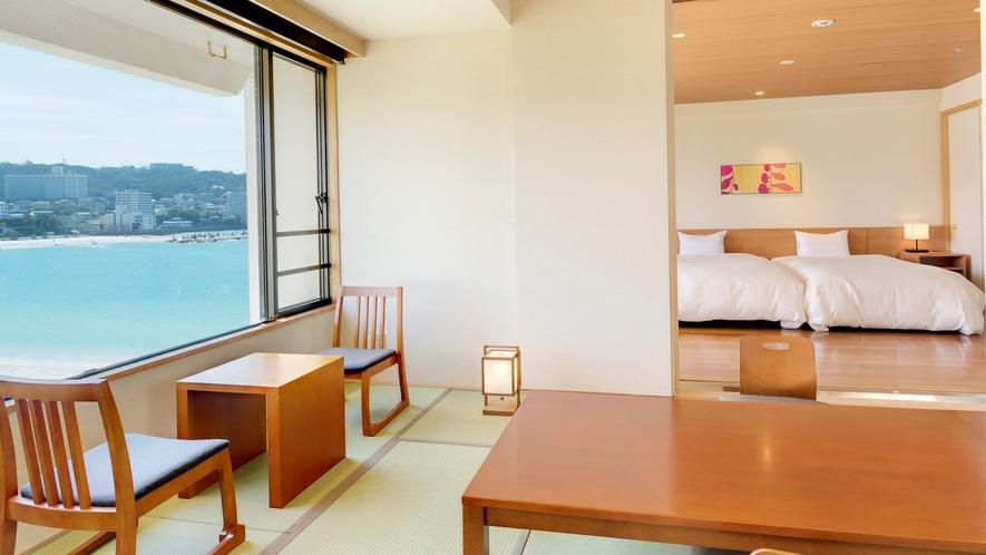 【コネクティング和+洋】(10畳+29㎡)2つの客室が扉で区切れるお部屋(定員7名)
