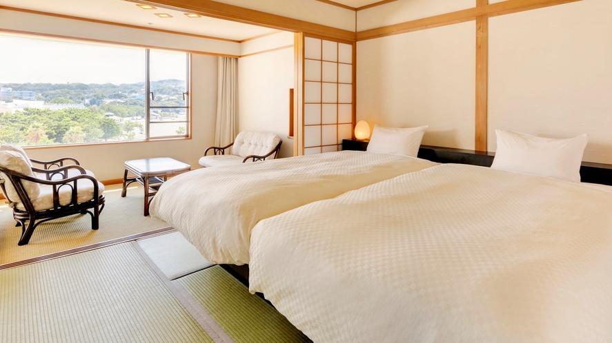 【デラックス和室+ツイン】和室の寛ぎとベッドの機能性の両方を愉しめるお部屋