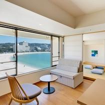 【ロイヤルフロアー和洋室】最上階から白良浜の海の眺望をお愉しみいただけます。