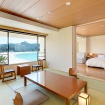 【コネクティング和+洋】2つの客室が扉で区切れるオーシャンビューのお部屋タイプ(定員7名)