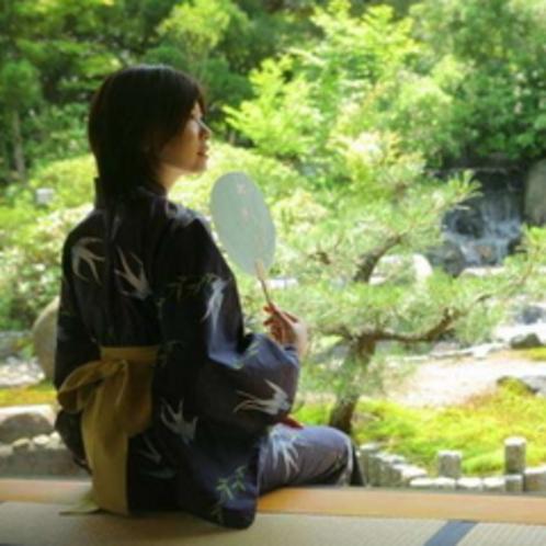 貴賓室「福禄寿」から専用庭園の眺め【夏】モデル