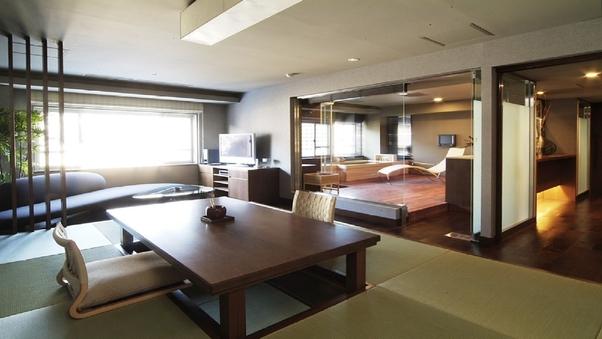 源泉掛け流し檜風呂付プレミアムスイート100平米/最上階8階