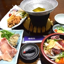 【夕食】≪日替わり定食≫ちらし寿司と豚しゃぶ
