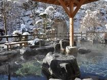 冬の渓流露天風呂3