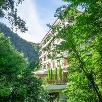 鮮やかな緑に囲まれた自然の中のホテル♪