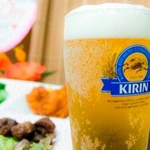 【生ビール】チェックインしたら、キーンと冷えた生ビールで一杯♪至福の瞬間です!