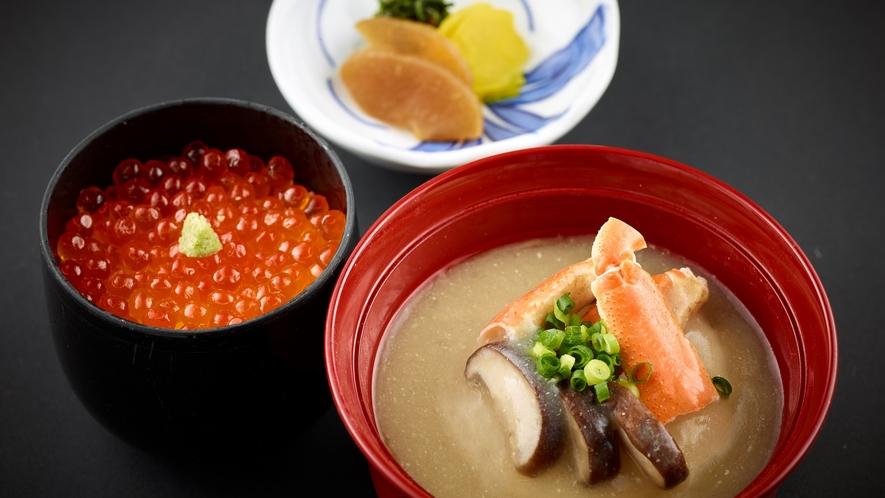 「特選和食会席膳」いくら丼 うまみたっぷりの蟹の鉄砲汁