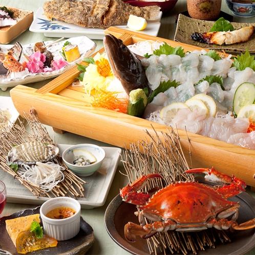 海人の技:濃厚な旨みが特徴の[渡り蟹]、肉厚で柔らかな身の[活きあわび]の天草グルメをご堪能下さい。