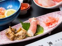 【夕食】お通し(一例)夕食では信州の郷土食を中心にお出ししています。