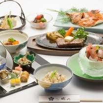 【夕食例】当館自慢のお食事!旬の食材を目と舌でお楽しみ下さい。