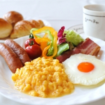 高原の朝食。
