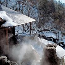 □冬の露天風呂