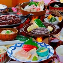 ≪会場食B≫お造り三点盛り・豚肉の朴葉焼き・鮑の踊り焼き・ざる豆腐などの会席料理!2017年4月~