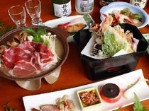 秋のお料理 例 ぼたん鍋 と桑の葉の天ぷら