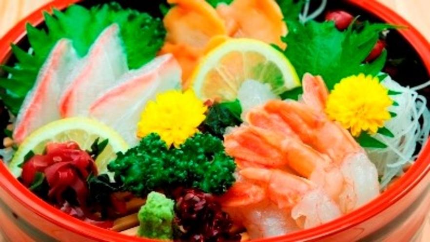 夕食レストラン定番メニュー「お刺身3種盛り合わせ」