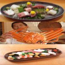 造りと親方ズワイ蟹と鮨