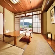 【和室10畳】開放的な眺めです。Wi-Fi無料接続・空冷蔵庫(バス・洗浄機能付きトイレ)