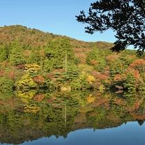<白雲の池>当館より歩いて15分。秋には山々が美しく色づき紅葉スポットに。
