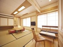 平安亭1室のみ「国産無垢材」他自然素材を使用した客室。