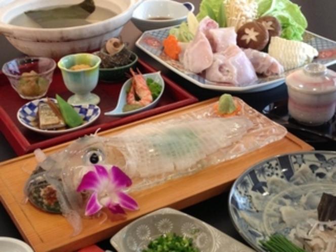 【満福プラン】とらふぐ刺身と鍋・イカ活き造り
